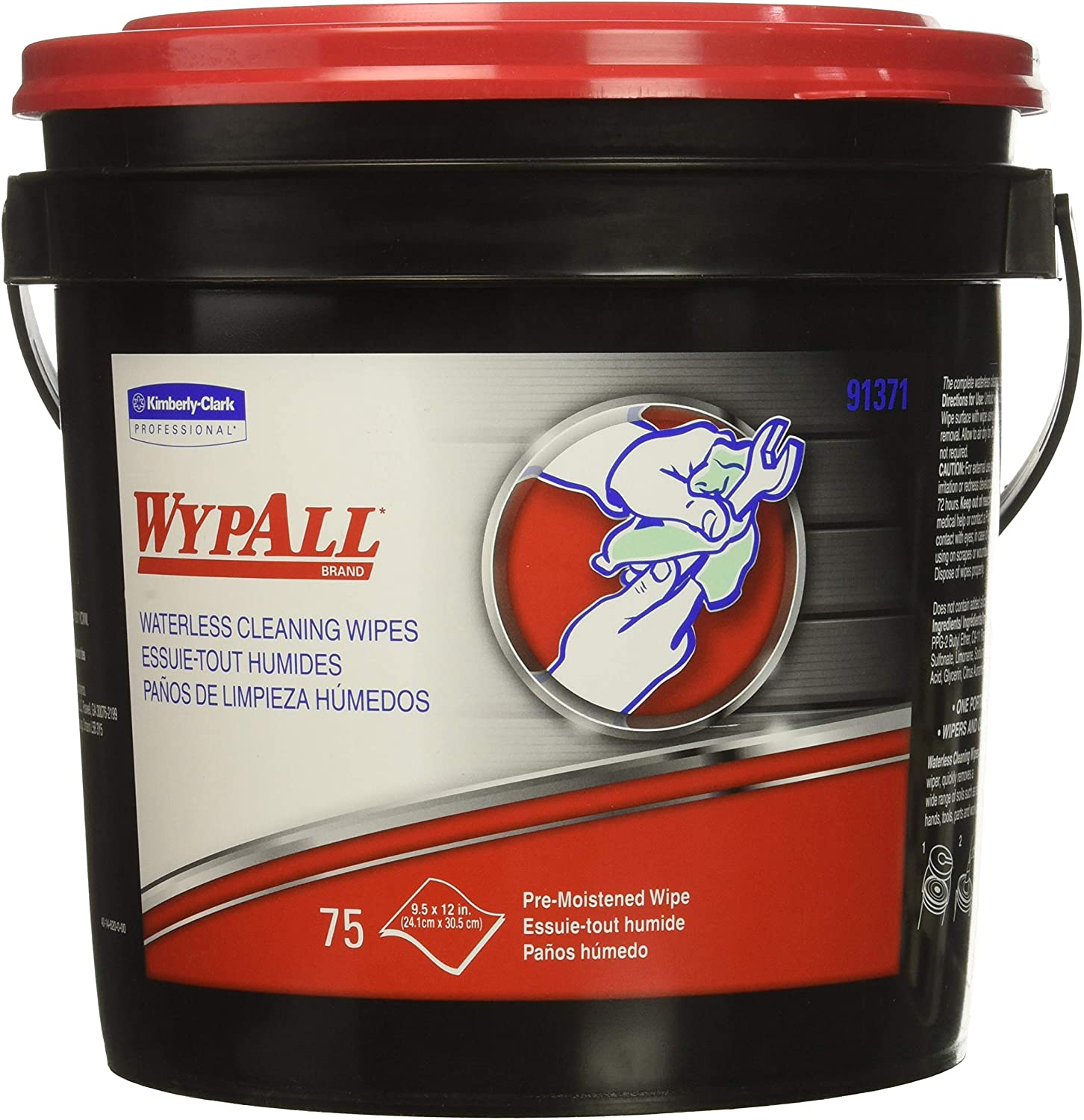 Kimberly-Clark KIM91371EA-KIMBERLY Clark WYPALL Waterless Cleaning Wipes, Red