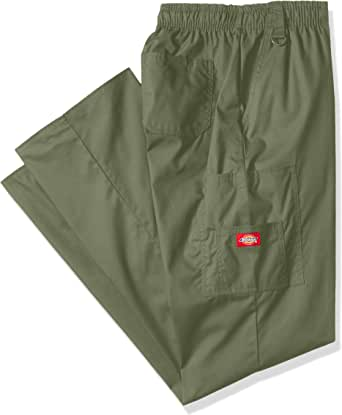 Dickies Men's Big-Tall EDS Signature Zip Fly Pull-On Scrub Pant, Olive, Large