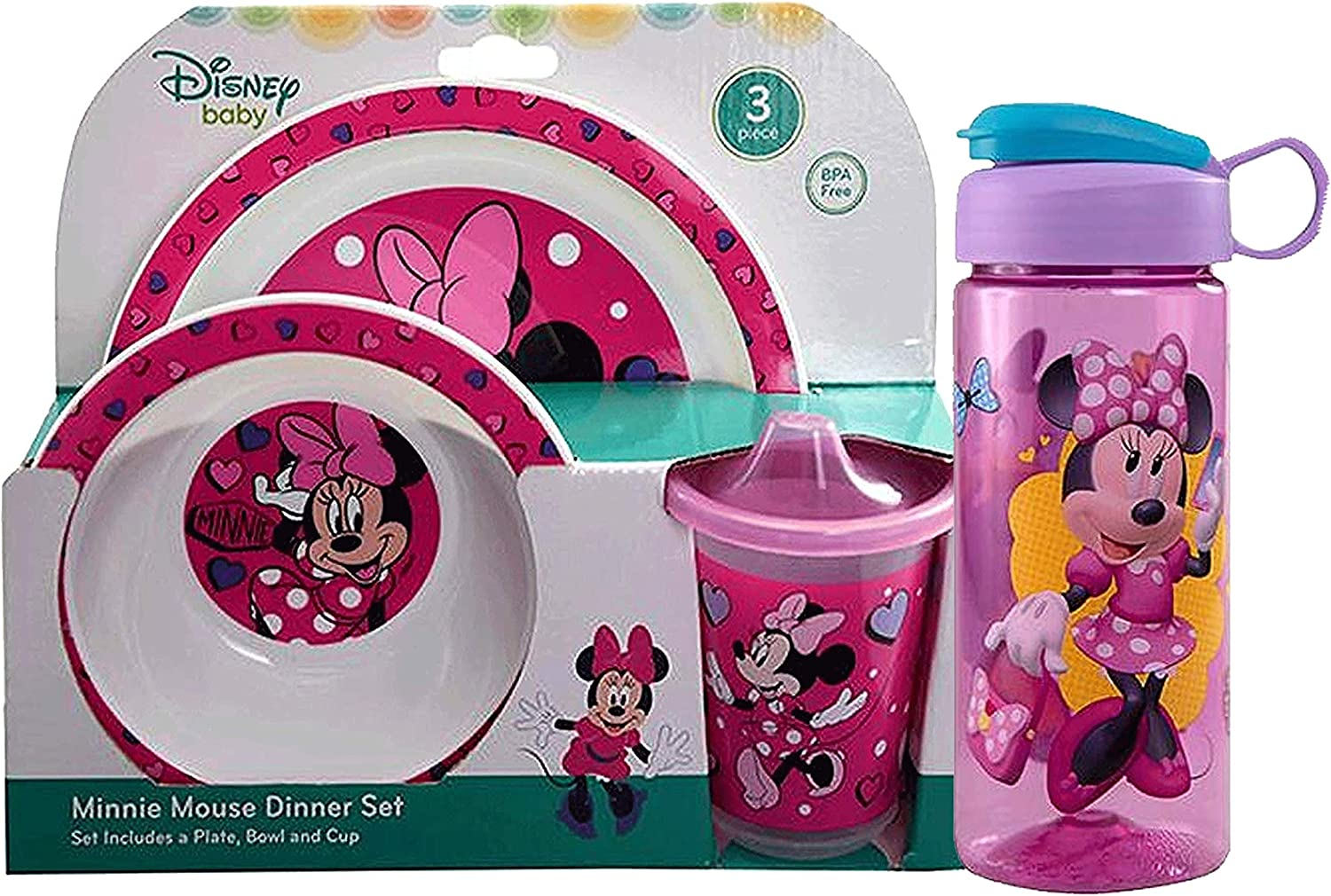 Fork /& Spoon Sippy cup Minnie Mouse 5pc Toddler Mealtime Set Plate Bowl BPA Free