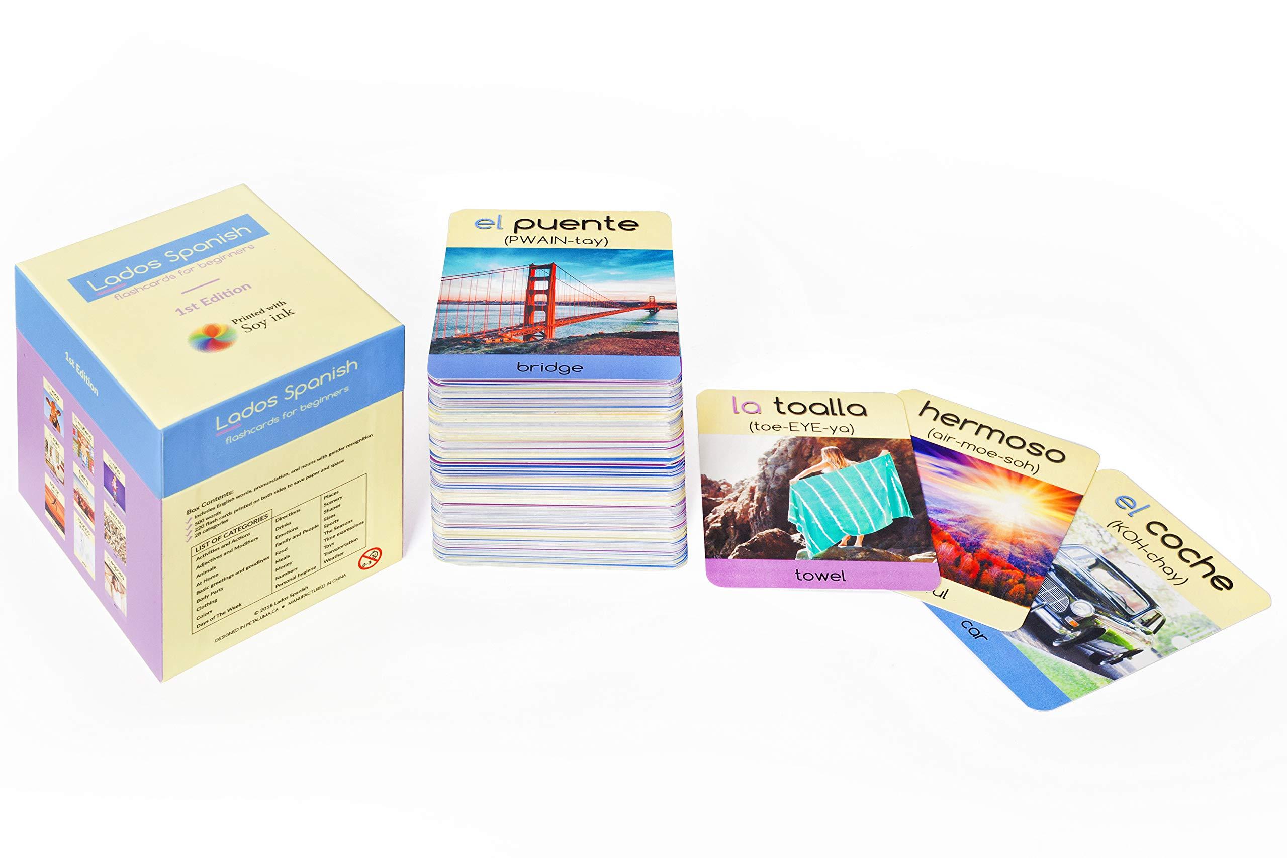 Lados Spanish- Spanish Flash Cards- Learn Basic Spanish- Spanish for Adults and Kids-Spanish flashcard Program- Spanish Vocabulary-Basic Spanish-Beginner Spanish