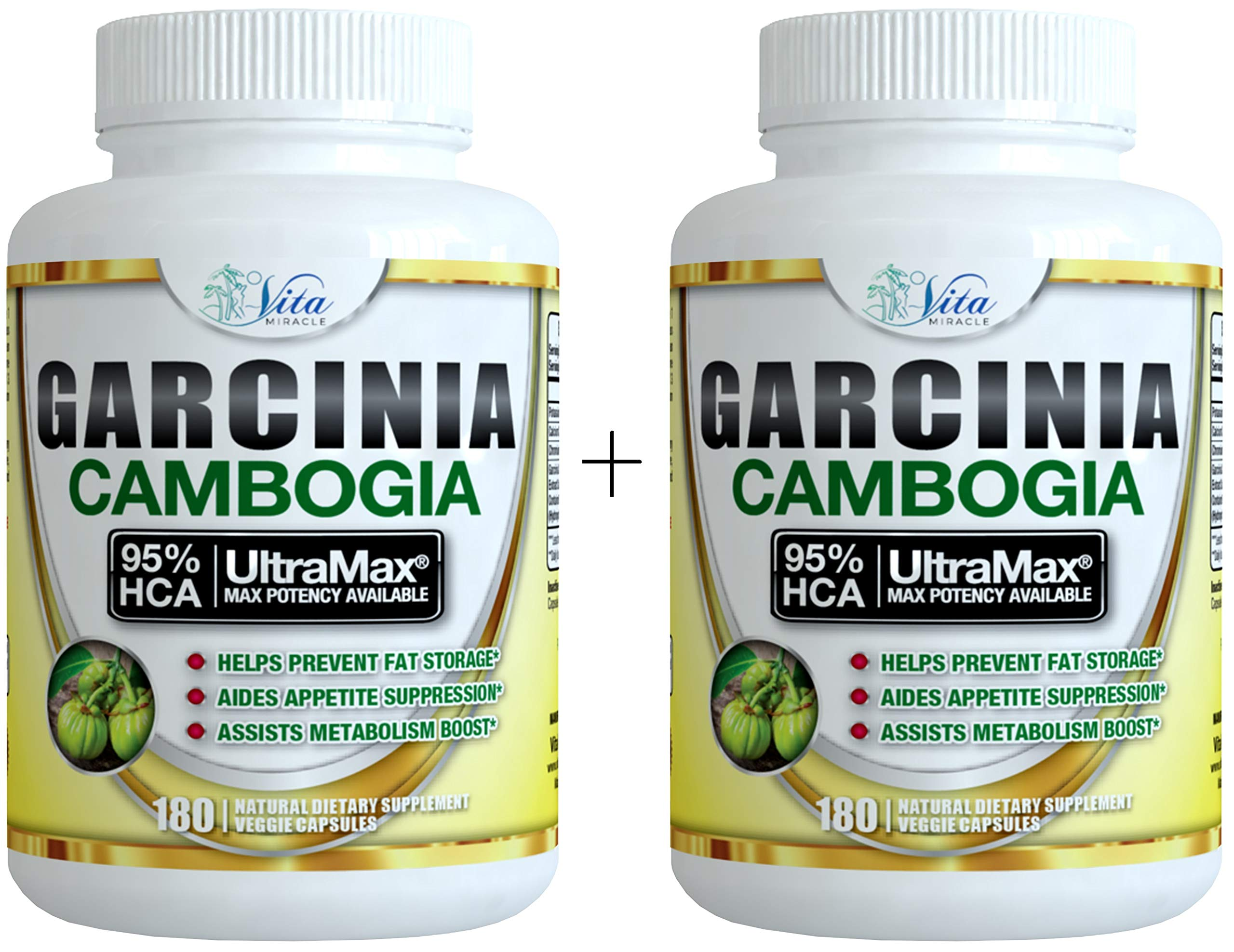Pure Garcinia Cambogia 95% HCA - Extract Slim Maximum Strength Formula to Reduce Appetite & Lose Weight Faster Than Ever Plus Garcinia Cambogia Weight Loss E-Book (180 Count (2 Pack)) by Island's Miracle (Image #1)