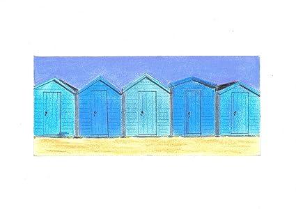Cinco azul casetas de playa tiza Pastel dibujo + montaje