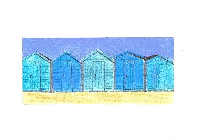 Cinco azul casetas de playa tiza Pastel dibujo + montaje: Amazon.es: Hogar