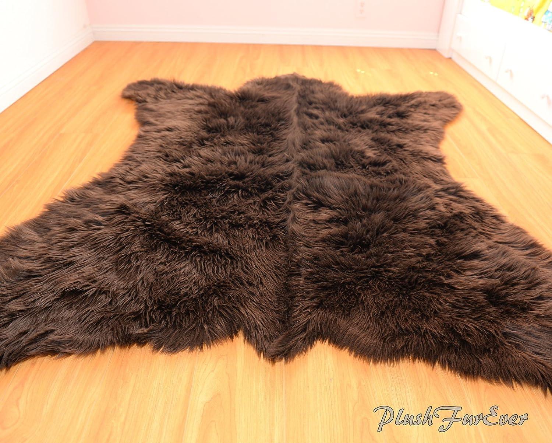 PlushFurEver Grizzly Bearskin Faux Fur Rug 3' x 5' feet Chocolate Brown