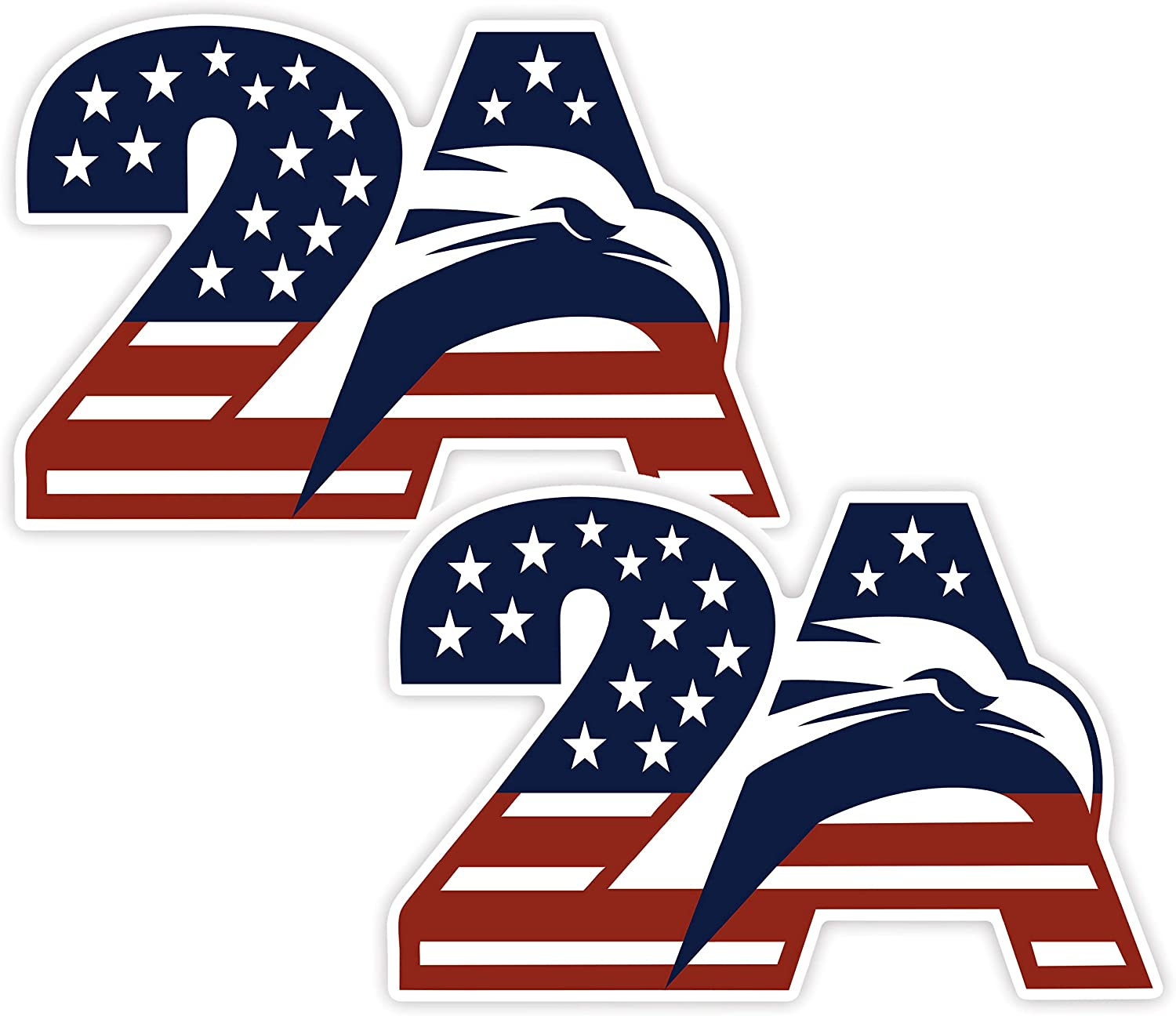 2A Second Amendment Patriotic Eagle Sticker - Window Sticker Cars Trucks Laptops - 2 Pack