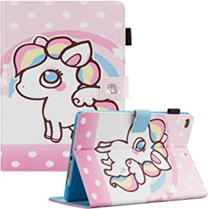 Dteck iPad 9.7 2018 2017/iPad Air 2/iPad Air Case, Multi-Angle Viewing Folio Protective Cover with Auto Sleep Wake for Apple iPad 9.7 inch 2018/2017 (6th Gen, 5th Gen)/iPad Air 1/2,Rainbow Unicorns