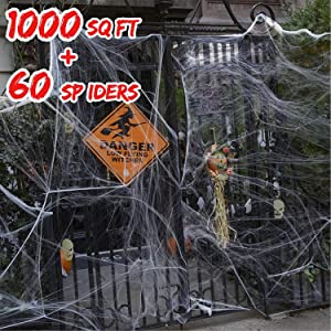 1000 Sq Ft Stretch Spider Webs Halloween Outdoor Decorations 10.58 oz Spider Webbing with 60 Fake Black Spiders Indoor Spooky for Halloween Party Yard Garden Decorations