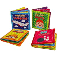Quner Baby's First Non-Toxic Soft Cloth Book Baby Cloth Book Set Kids Early Learning Educational Toys-Pack of 4