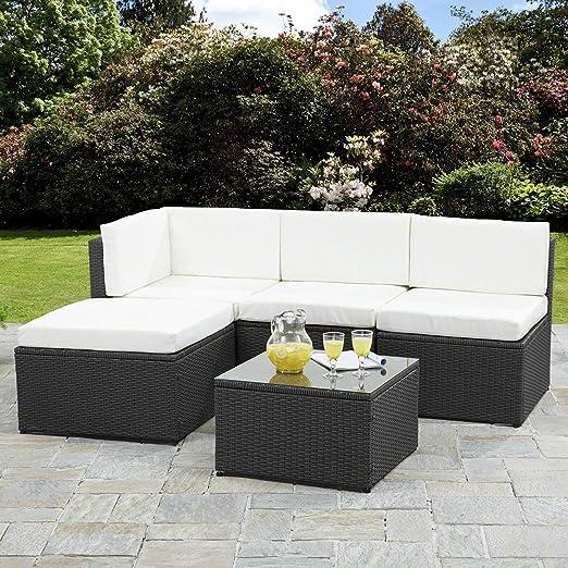 Conjuntos de muebles de jardín, sofá esquinero de mimbre: Amazon.es: Jardín
