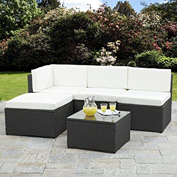 Rattan Corner Sofa Garden Furniture Sets Black Amazon Co Uk