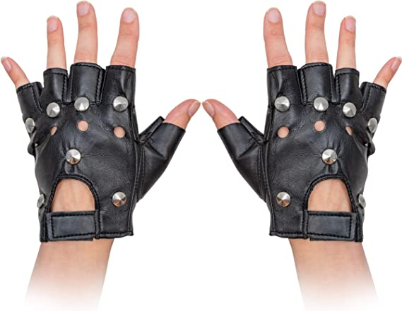 Smiffys Mens Ladies 80s 1980s 80/'s Punk Stud Gloves Leather Look Black New