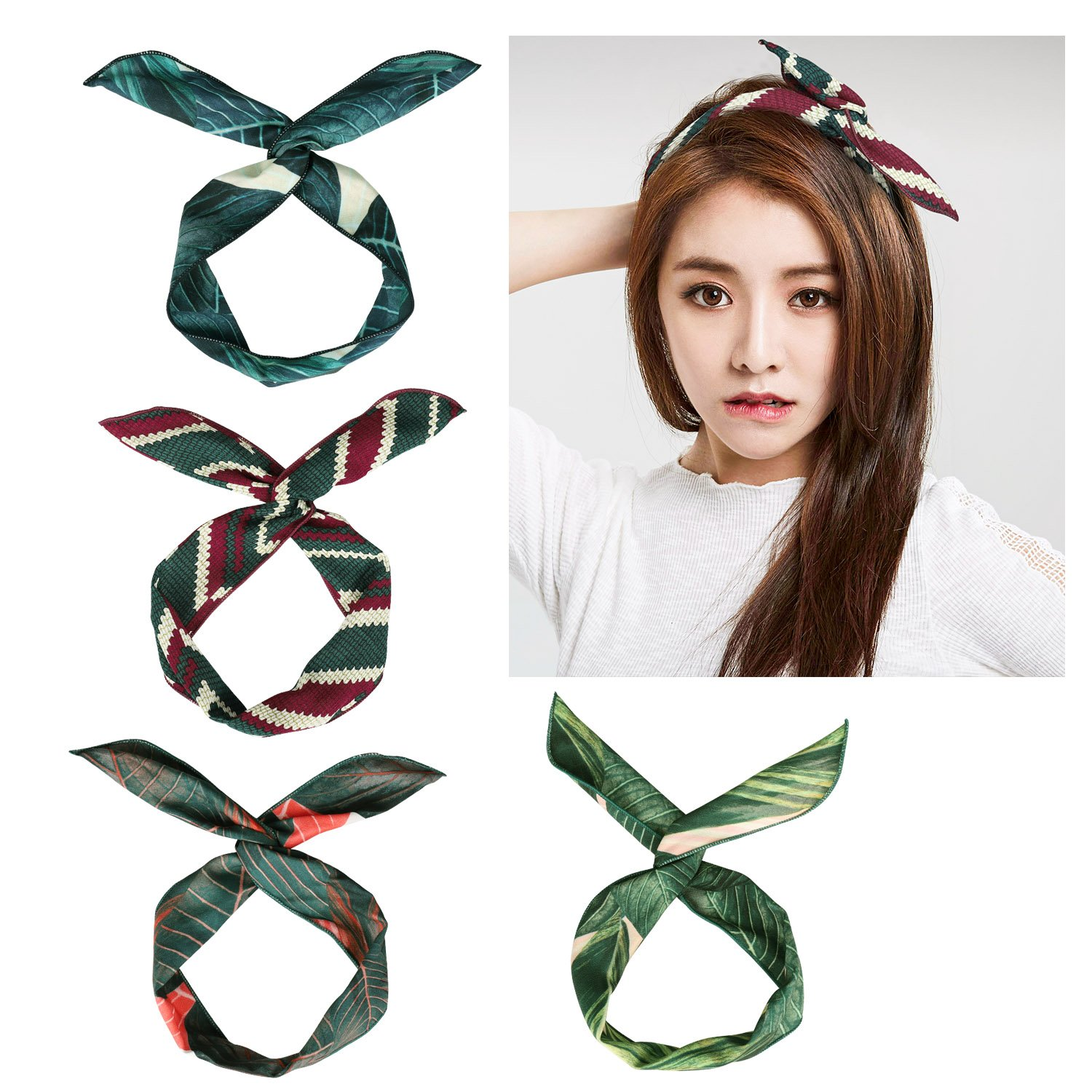 4 Pack Retro Headband, Boho Style Hair Band Wrap for Women and Girl YaFex