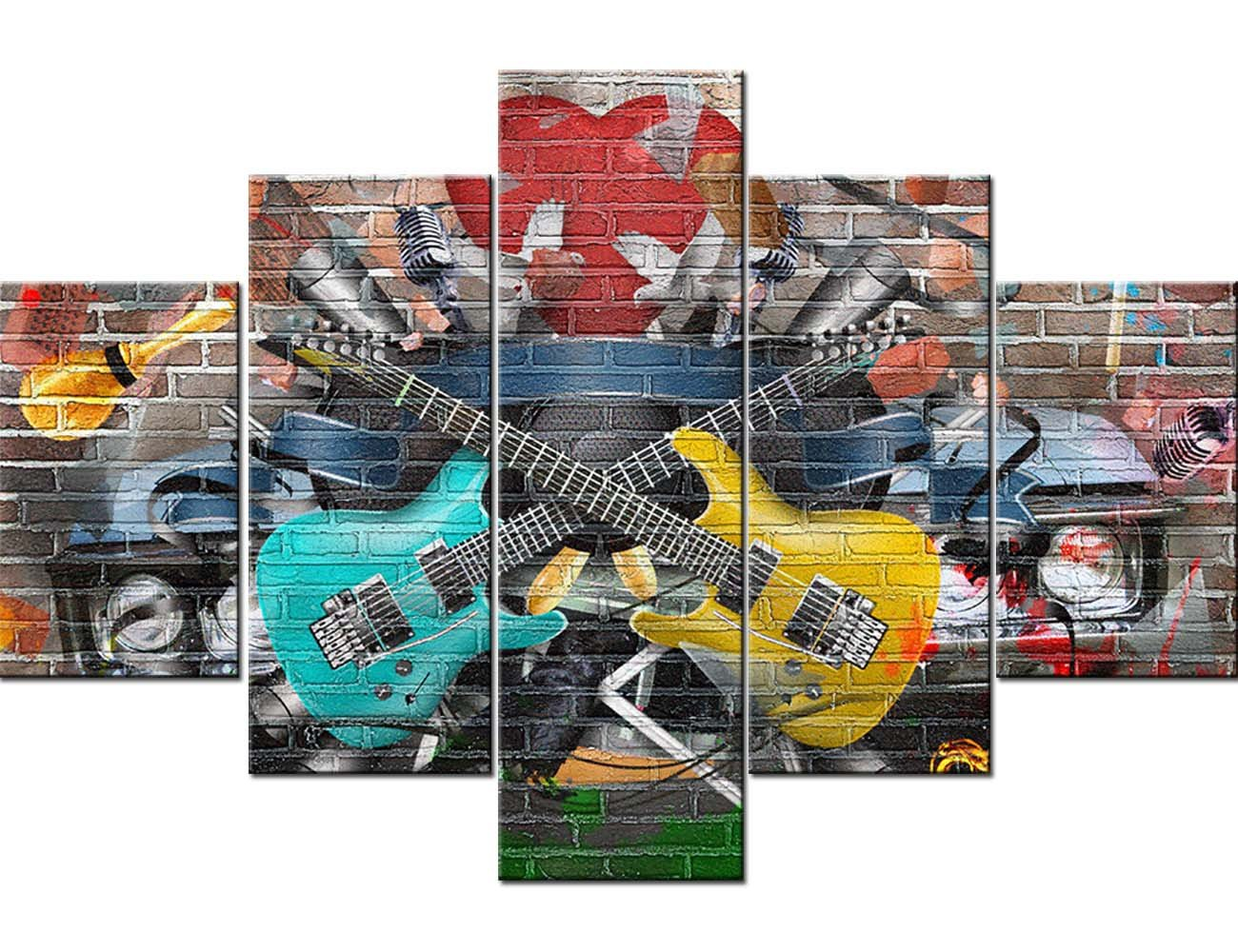 TUMOVO Graffiti Paintings Music Collage Pictures 5 Panel Canvas Wall Art Home Decor for Living Room Bedroom Office Modern Artwork Posters and Prints Framed Gallery-Wrapped Ready to Hang(60''Wx40''H) by TUMOVO