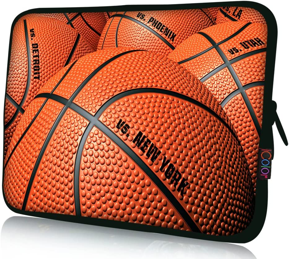 "iColor Laptop Bag Tablet PC Sleeve 11.6"" 12 12.1 12.2 inch Neoprene Computer Sleeve Cover Case Pouch for 11.6~12.5"" Chromebook Ultrabook Notebook Computer-Basketball"