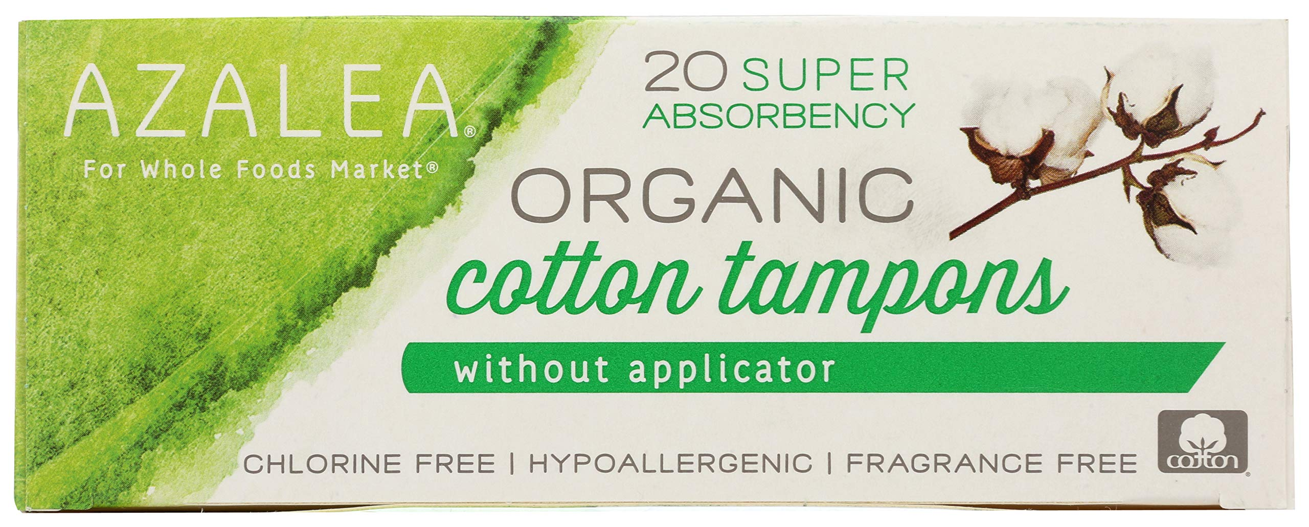 Azalea, Organic Cotton Tampons without Applicator, Super, 20 ct