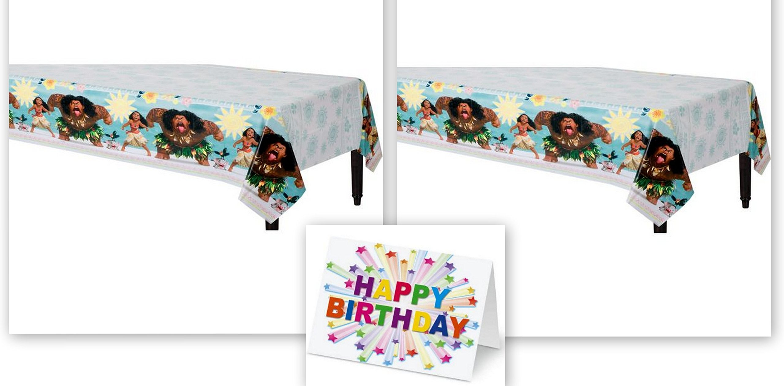 Moana Disney Hawaii Beach Party Tablecover Tablecloth Birthday Party Supplies (2-Pack) Plus Birthday Card by HALL