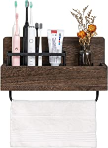 Dahey Wall Mounted Toothbrush Holder Wooden Electric Toothbrush Organizer Multifunctional Stand Towel Rack Toothpaste Dispensers Rustic Farmhouse Bathroom Decor