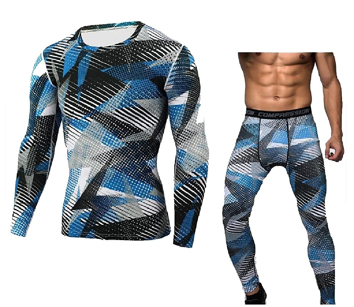 Sexybaby Mens Slim-Fit Floral Print Crew-Neck Base Layer Tight Set