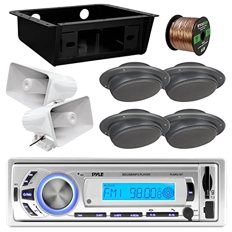 2X 6 PA Horn Speaker Metra DIN Kit Pyle PLMR21BT USB//SD//MP3 Bluetooth Stereo Receiver Bundle Combo with 4X Magnadyne Ceiling//Wall Mount RV Satellite Box Speaker Enrock 50 Foot Speaker Wire