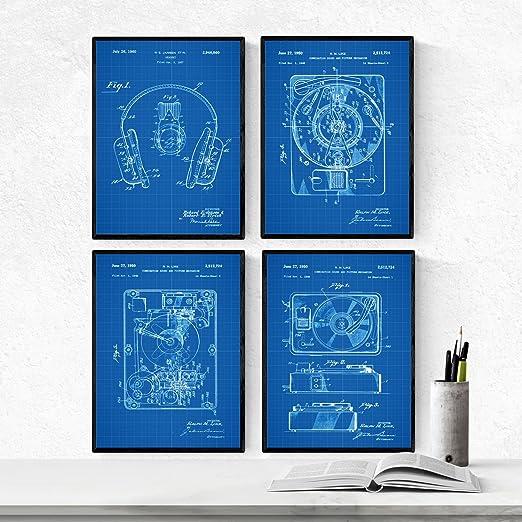 Nacnic Azul - Pack de 4 Láminas con Patentes de Tocadiscos. Set de ...