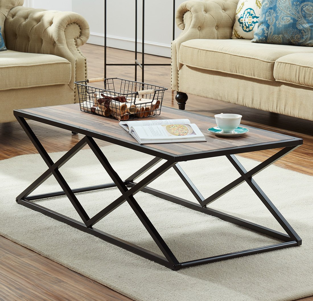O&K Furniture Rectangular Coffee Table with Chain Metal Frame - Rustic Industrial Style (Oak) GHN OKCY-CT001A