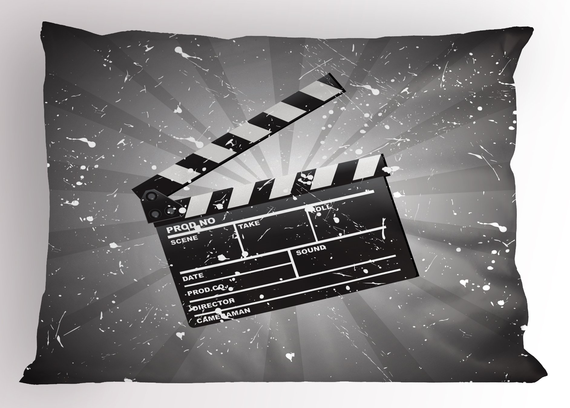 Ambesonne Movie Theater Pillow Sham, Clapper Board on Retro Backdrop with Grunge Effect Director Cut Scene, Decorative Standard Size Printed Pillowcase, 26 X 20 Inches, Grey Black White