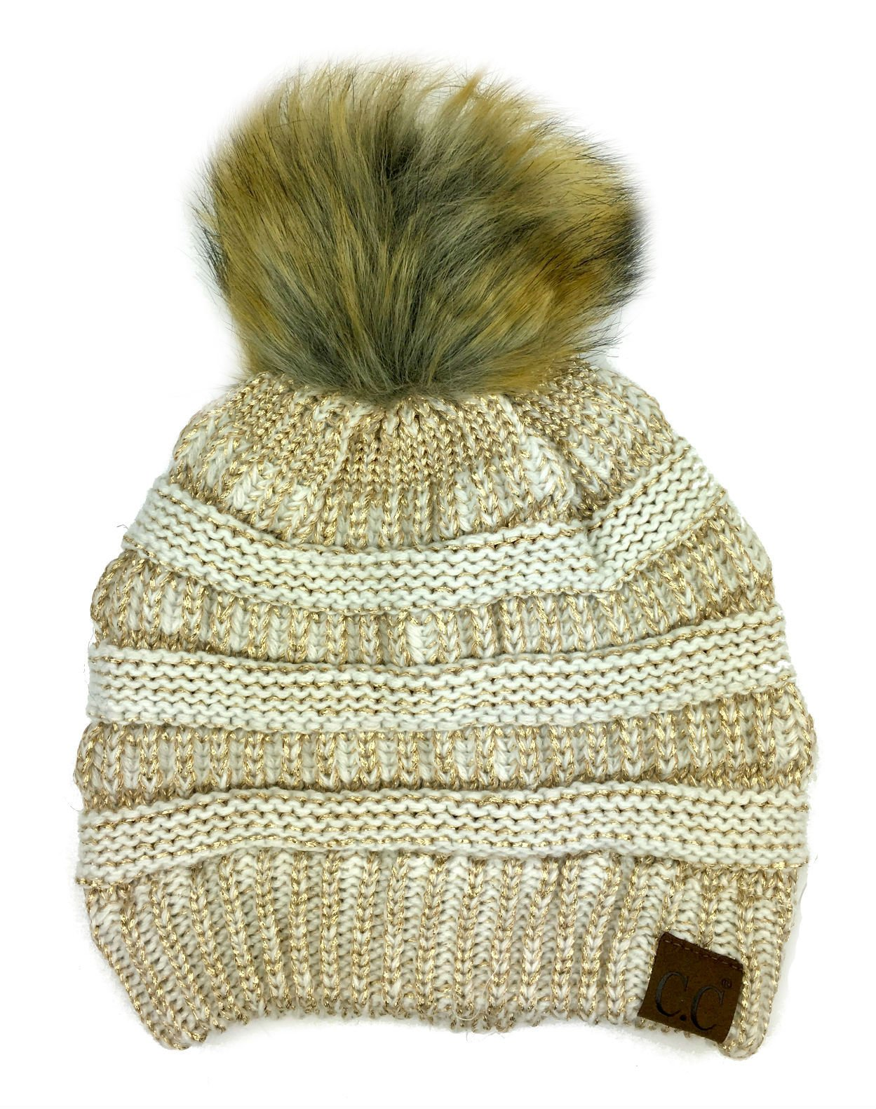 Plum Feathers Soft Stretch Cable Knit Ribbed Faux Fur Pom Pom Beanie Hat (Ivory-Gold Metallic) by Plum Feathers