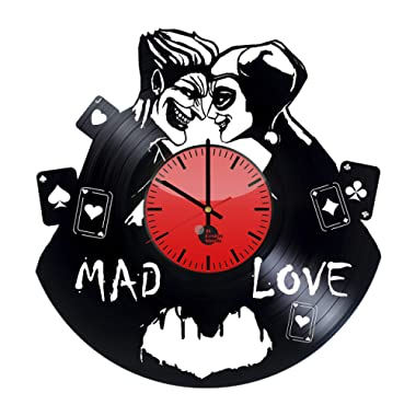 Joker Harley Quinn DC Comics Vinyl Clock - Mad Love Best Original Birthday Idea - Vinyl Records Wall Art Room Decor Handmade Decoration Party Supplies Theme - Vintage Modern Style