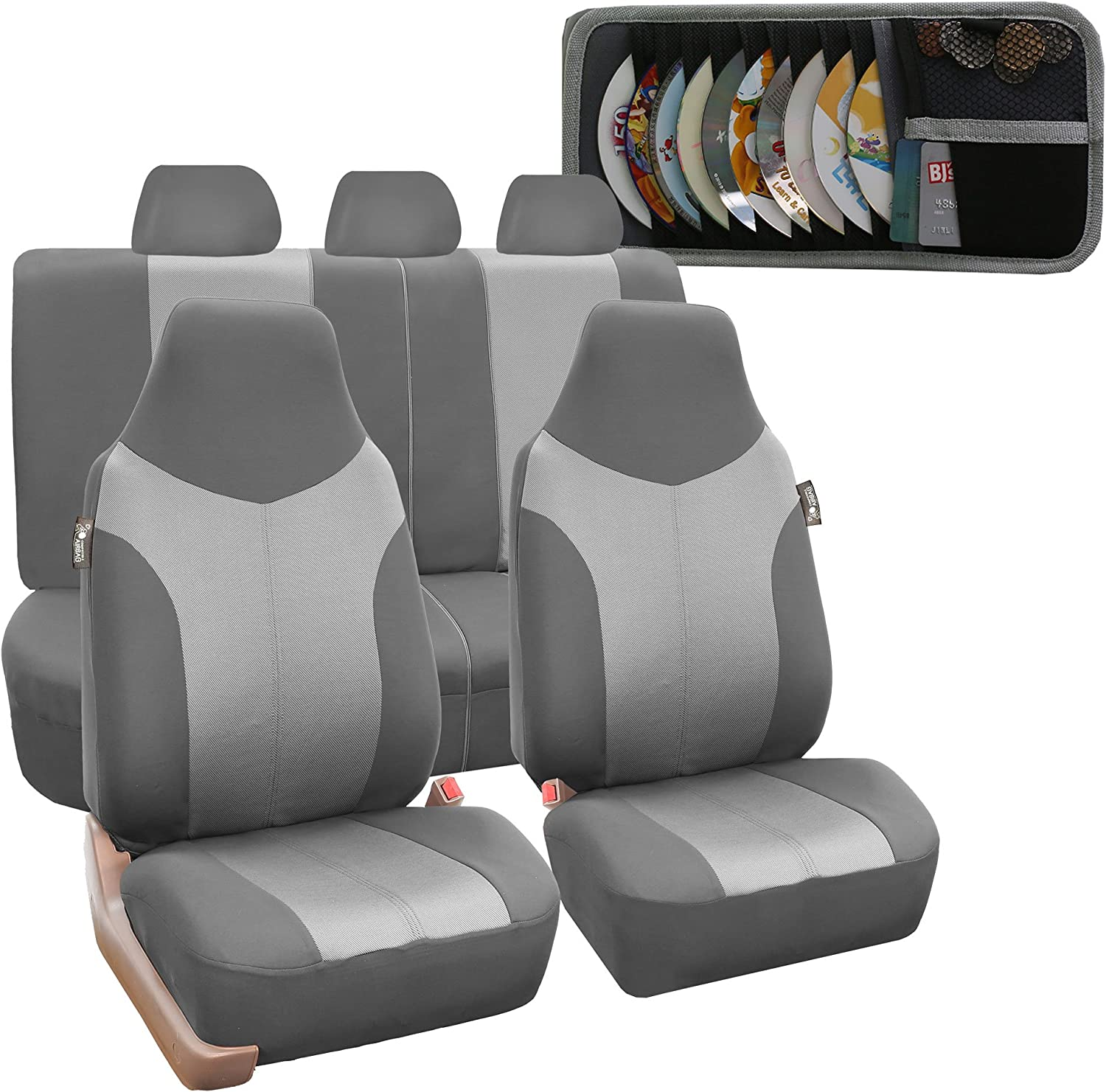 FH Group FB101115 Supreme Twill Fabric High Back Car Seat Cover (Full Set Airbag Ready and Split Rear Bench), Gray w Fit Most Car, Truck, SUV, or Van