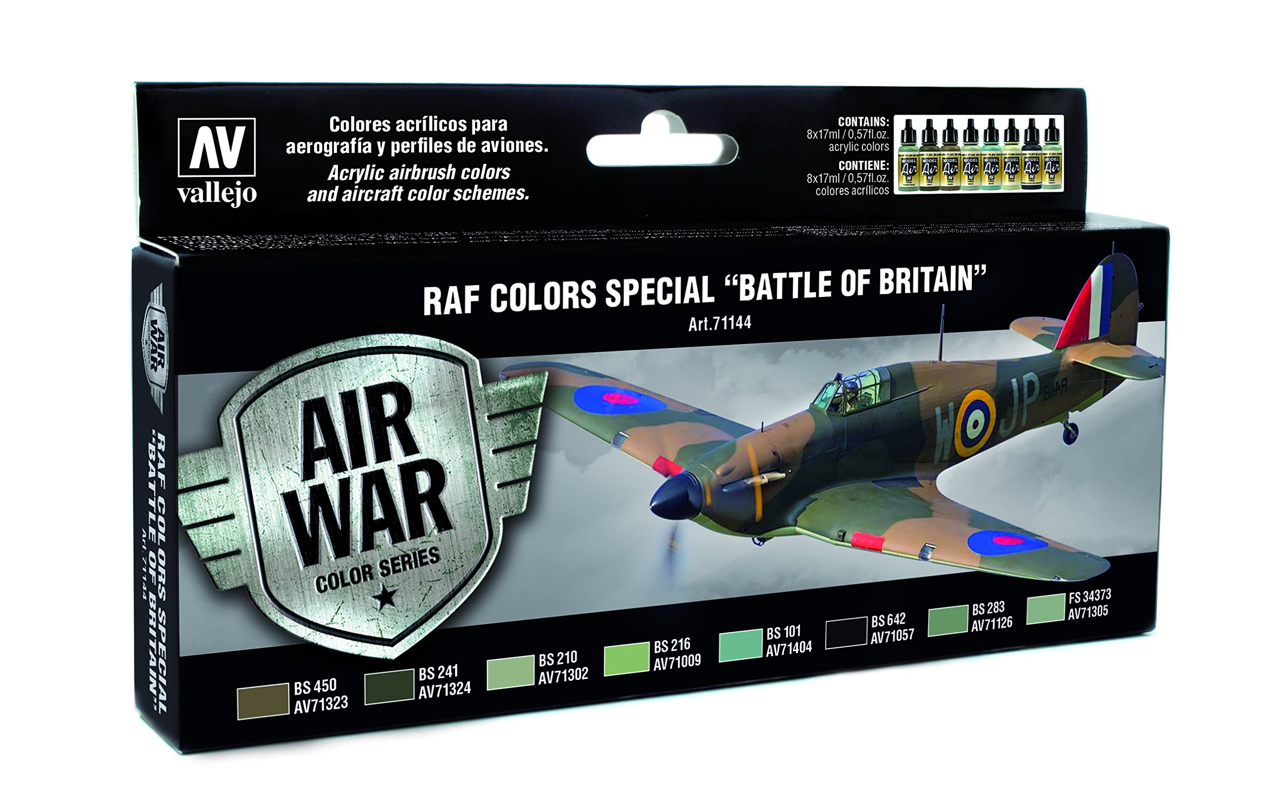 Vallejo RAF Colors Special Battle of Britain 'Air War Color Series' Model Paint Kit, contains 8 x 17ml bottles