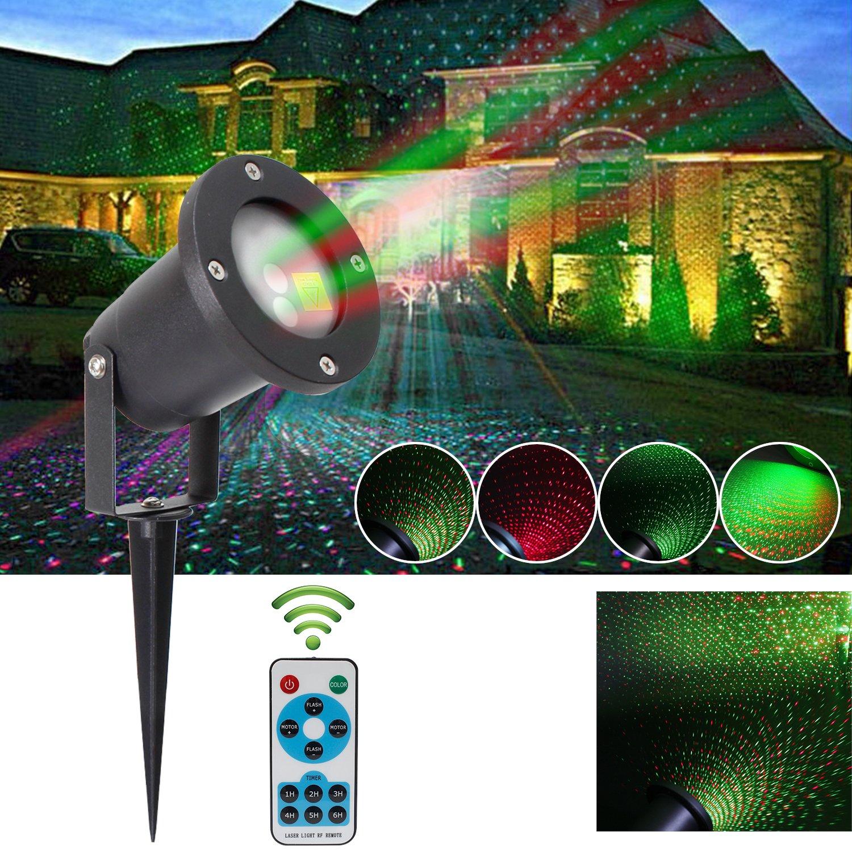 LED Projektor Lichter,Gartenlicht Lichteffekt Standfuß Weihnachten Wasserdichte Spotlight Mit Roten und Grünen Lightings, Party Licht,für Weihnachten,halloween usw.(mit RF Fernbedienung) BAODE