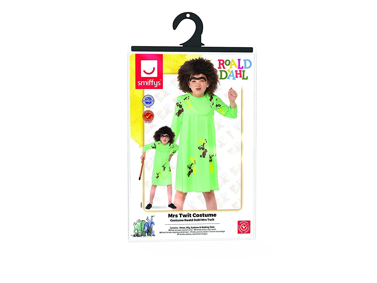 Amazon.com: Girls Green Roald Dahl Mrs Twit Fancy Dress Costume: Clothing