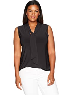 6ac820c3c61a8d uxcell Women's Plus Size Ruffle Front V Neck Sleeveless Top 1X ...