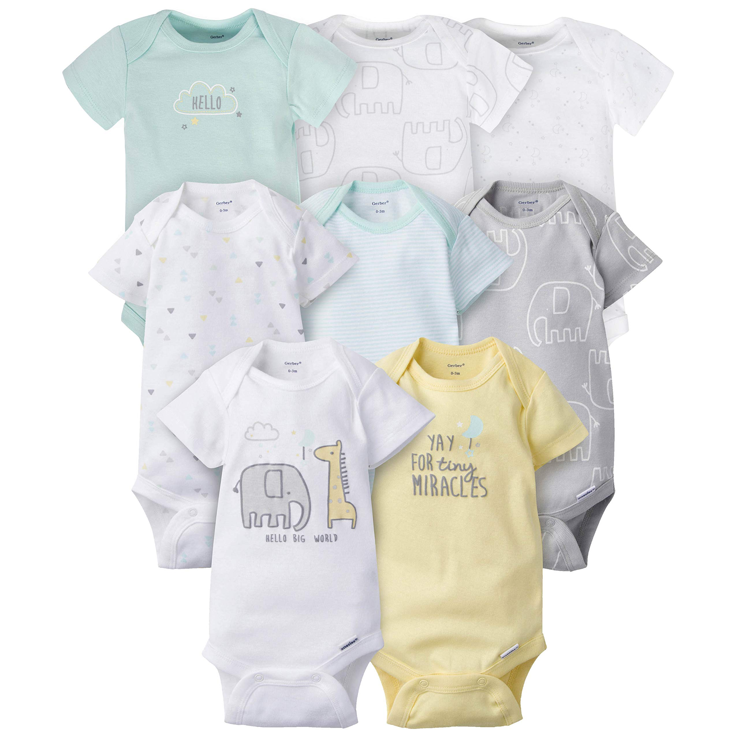 GERBER Baby Girls 6-Pack Long-Sleeve Mitten-Cuff Onesies Bodysuit