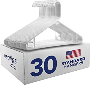 Neaties American Made White Plastic Hangers with Bar Hooks, Plastic Clothes Hangers Ideal for Everyday Use, Clothing Standard Hangers, 30pk