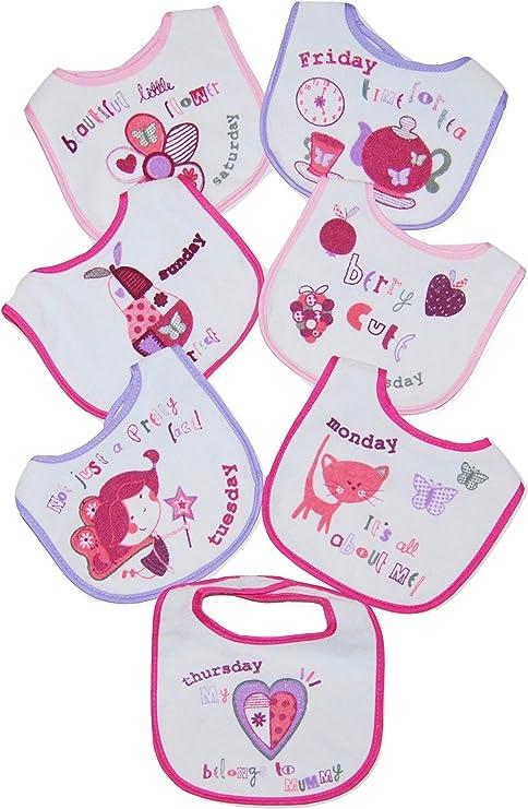 Baberos para bebé, pack de 7 días de la semana rosa rosa: Amazon.es: Bebé