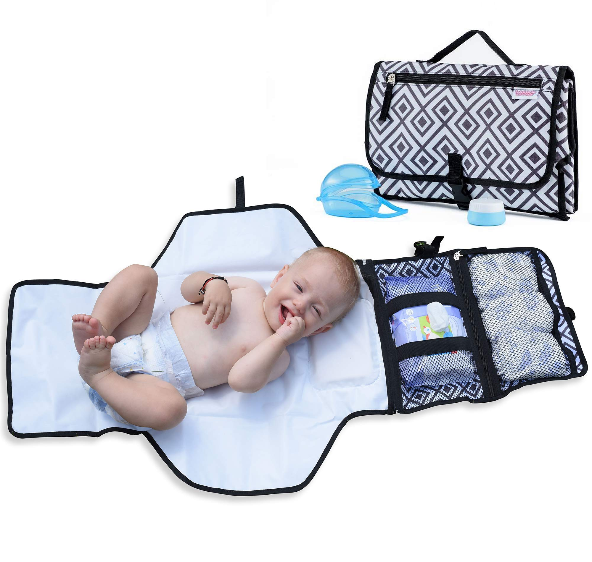 Portable Changing Pad for Diaper Bag w/Head Pillow, Travel Changing Pad & Portable Changing Station | Plus Binky Case & Baby Cream Jar | Infants & Newborns | Grey Black Diaper Changing Pad Portable by BebesWorld