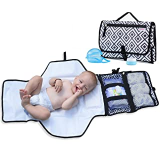 Portable Changing Pad for Diaper Bag w/Head Pillow, Travel Changing Pad & Portable Changing Station | Plus Binky Case & Baby Cream Jar | Infants & Newborns | Grey Black Diaper Changing Pad Portable