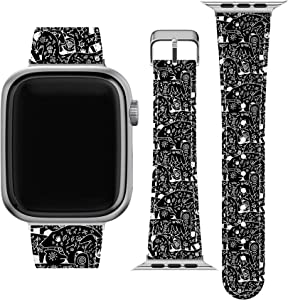Lex Altern Band Compatible with Apple Watch Series 6 SE 5 4 3 2 1 38mm 40mm 42mm 44mm Aztec Animals Cute Native American Tribal Print Strap Wristband Durable Vegan Leather Thin Stylish PU wh090