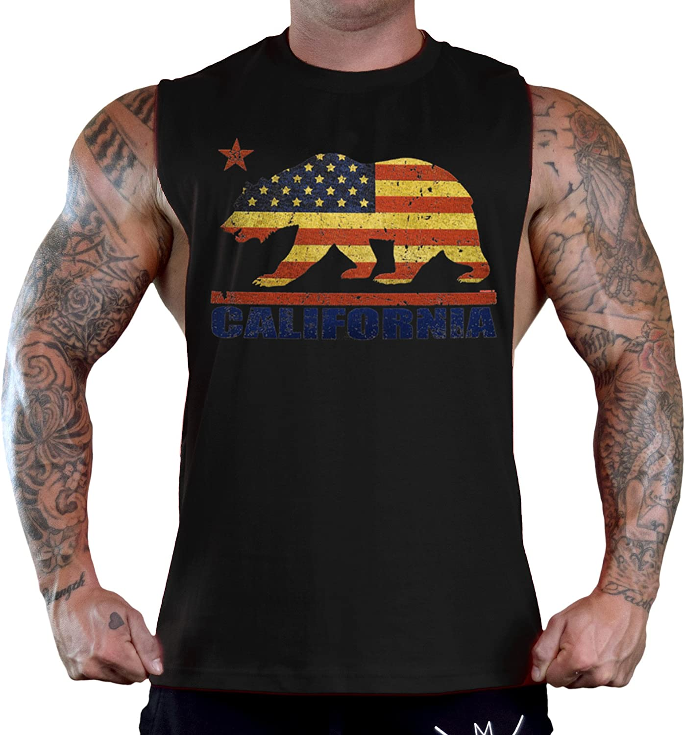 Mens American Cali Bear Flag Black Sleeveless T-Shirt Tank Top