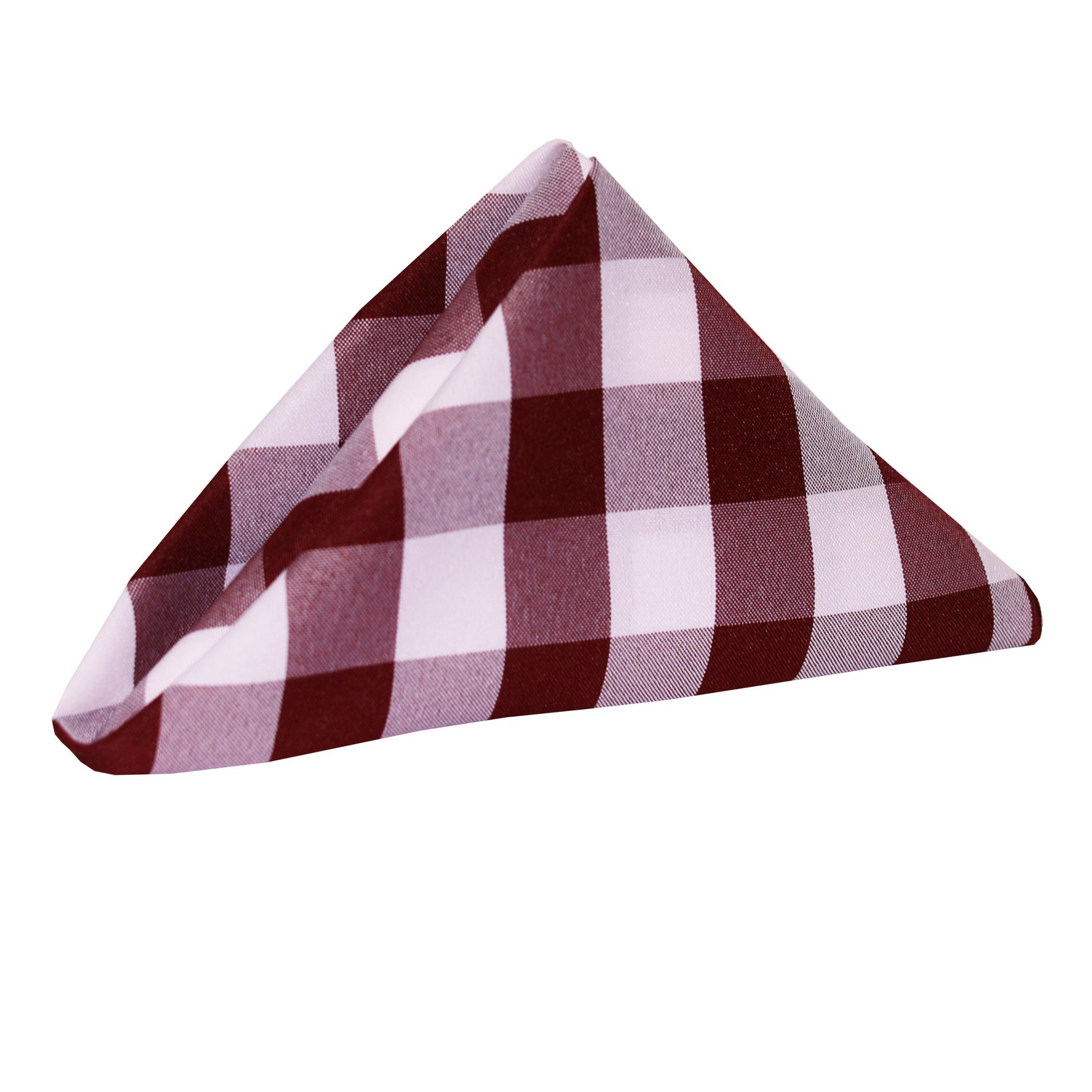 Ultimate Textile -2 Dozen- 20 x 20-Inch Polyester Checkered Cloth Dinner Napkins, Burgundy and White