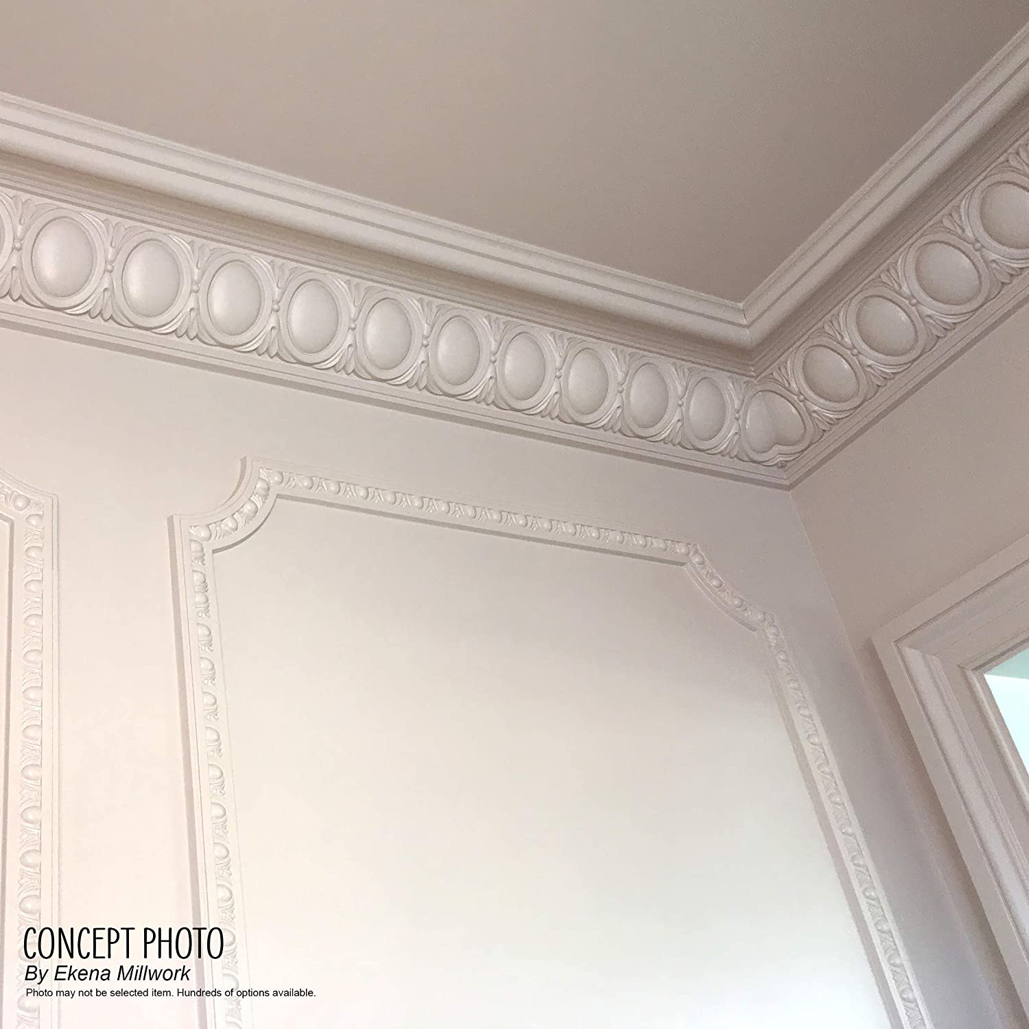Factory Primed Ekena Millwork MLD08X08X11AC Acanthus Leaf with Bead /& Barrel Crown Moulding 8 1//4H x 8P x 11 1//2F x 94 1//2L