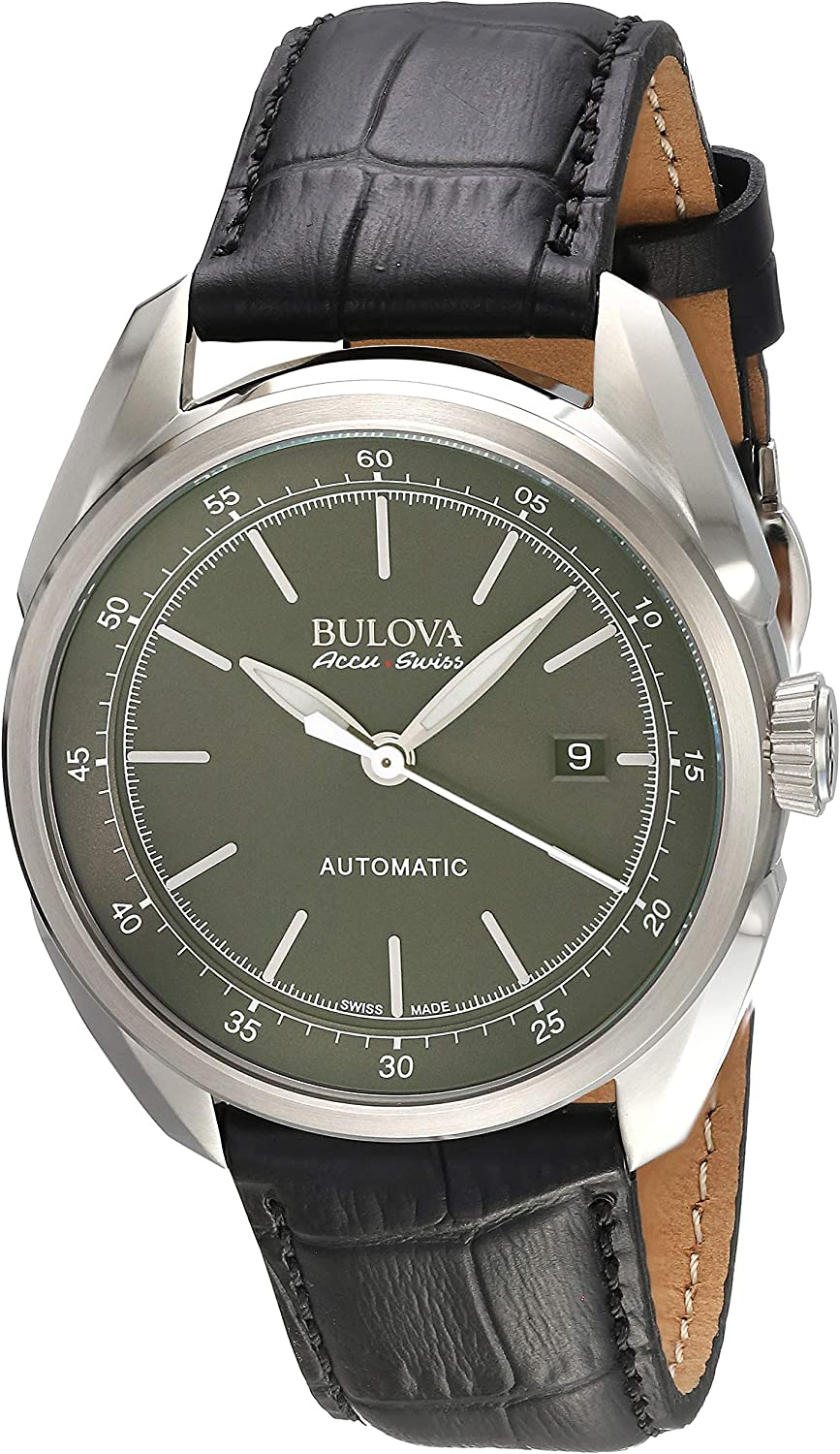 Bulova Men s Stainless Steel and Black Leather Automatic Watch Model 63B188