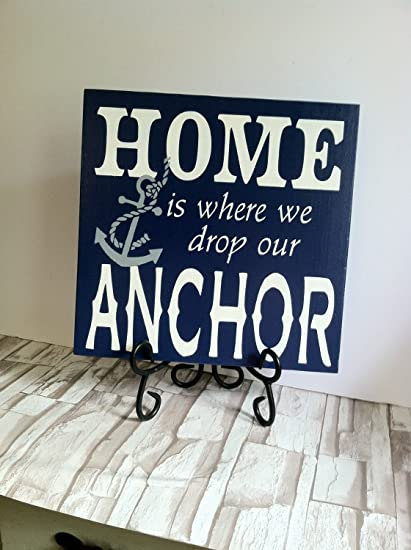 amazon com wood sign home is where we drop our anchor hand painted rh amazon com beach house signs beach house signs australia