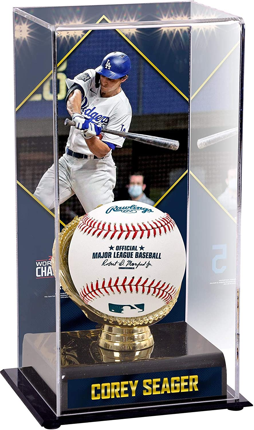 Corey Seager Los Angeles Dodgers 2020 MLB World Series Champions Sublimated Display Case with Image - Baseball Logo Display Cases
