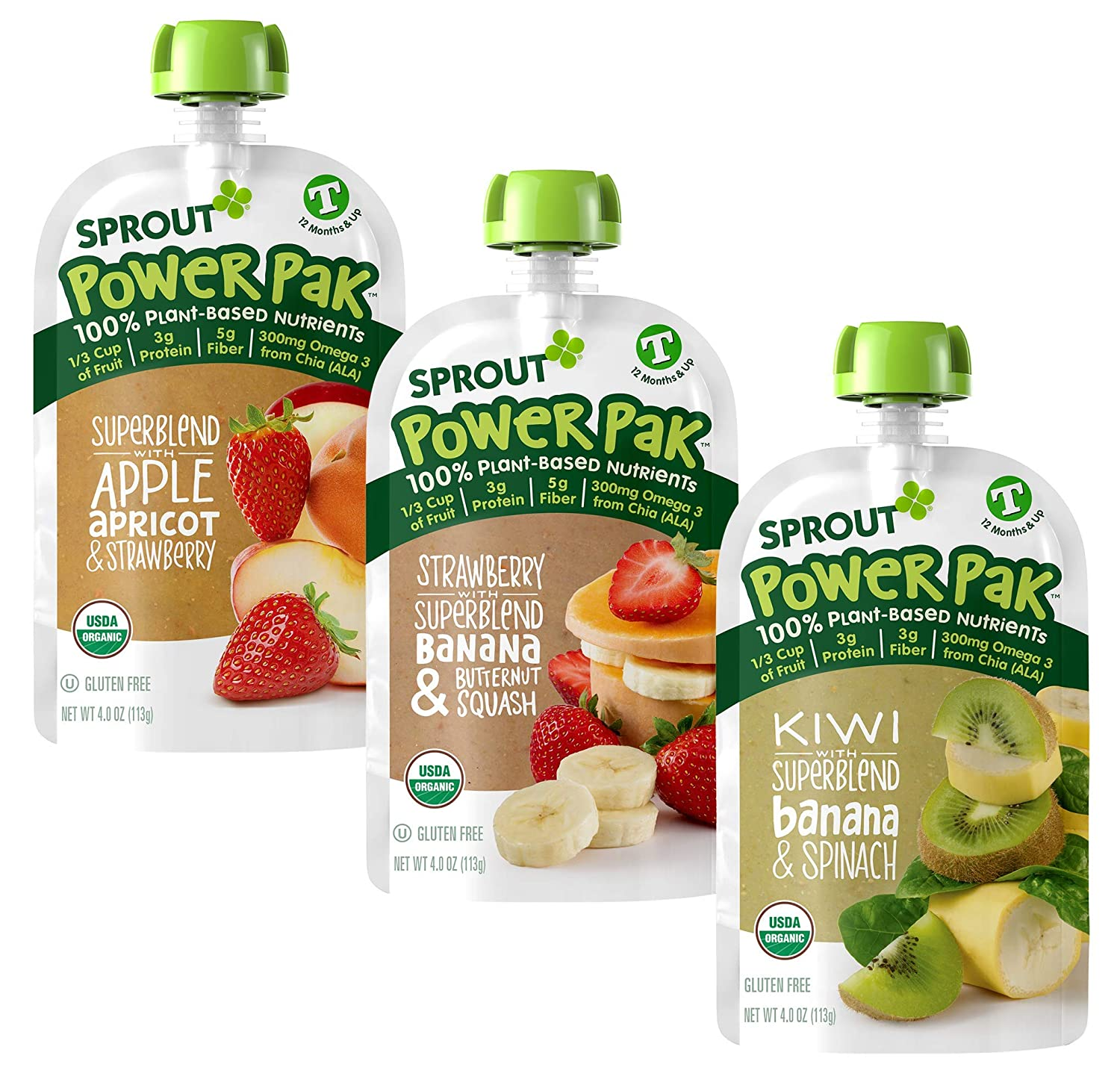 Sprout Organic Baby Food Toddler Power Pak Pouches Stage 4, Superblend Strawberry Banana Butternut, 4 Ounce Pouches (6 Each)