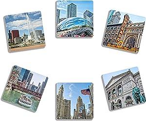 EXIT82ART - Rubber Drink Coasters (Set of 6). Iconic Chicago Landmarks. Absorbent. Dishwasher Safe.