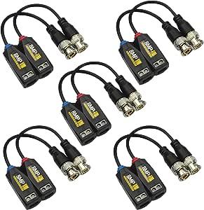 5 Pares de transmisores balun de vídeo HD BNC pasivo de 8 MP/4 K a través de Cable UTP RJ45 AHD/TVI/CVI/CVBS para cámaras de Seguridad de 720P/960P/1080P/3MP/5MP/8MP CCTV: Amazon.es: Electrónica
