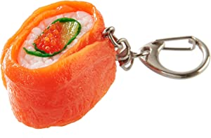 flavorbox(フレーバーボックス) Sushi Keychain (1 Pack: Salmon Roll) Realistic, Food replicas/for Bags, Keys or Pouches/A Gift for People who Like Sushi and Novelty/Japanese Culture/Japan-Made/ 20 Kinds