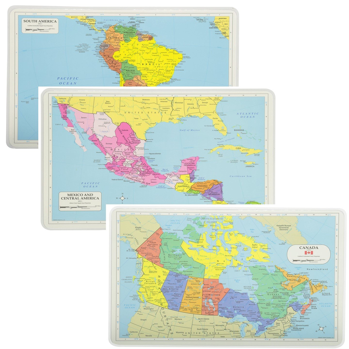 (South America Central America And Canda Maps) - Painless Learning Educational Placemats South America Central America And Canada Maps Set Non Slip Washable  South America Central America And Canda Maps B0723CT2TF